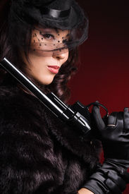 picture of girls guns  - elegant lady with a pistol in hands - JPG