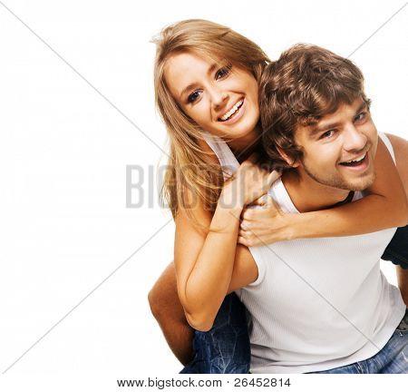 Постер, плакат: Красивая молодая пара в повседневная одежда, холст на подрамнике