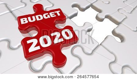 poster of Budget 2020. The Inscription On The Missing Element Of The Puzzle. Folded White Puzzles Elements And