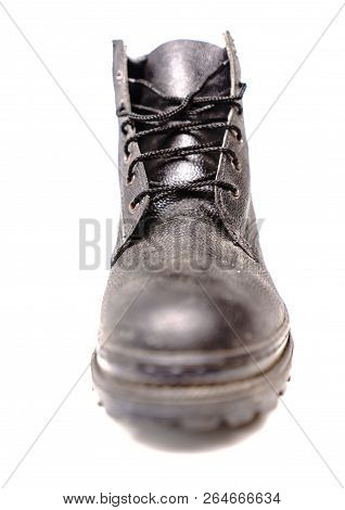 e2653ed4e19 Black Safety Shoe On White Background, Safety Shoes For Workers Wearing A  Personal Protective Equipm poster