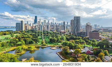 Chicago skyline aerial drone view