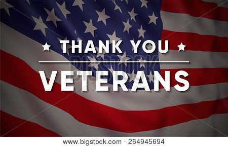 e12a9dde3a0 Poster of Vector Banner Design Template For Veterans Day With Realistic American  Flag And Text  Thank You Vete