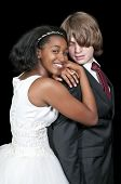 foto of wedding couple  - Caucasian man and a black African American woman newly married newlyweds - JPG