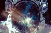 Dark Nebula And Stars In Space, Reflection On The Spacesuit Helmet. Adventure Of Spaceman. Astronaut poster