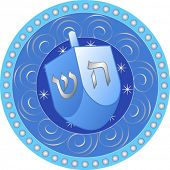 Blue and white Hanukkah design with Dreidel