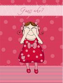 Baby Mädchen Geburtstagskarte rot