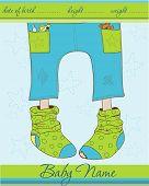 Baby Boy Ankunft Ankündigung Karte mit lustigen Socken