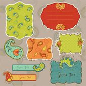 Design elements for scrapbook with paisley