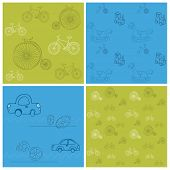 Set of Seamless backgrounds with Bikes and Cars - for design and scrapbook