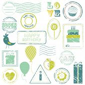 Birthday Vector Stamp Set IN COLOR - look for more in my gallery