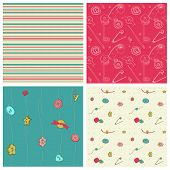 Set of 4 seamless backgrounds - Sewing kit design elements for scrapbooking