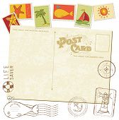 pic of beach party  - Retro Invitation postcard with SEA stamps  - JPG