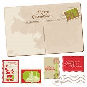 Christmas Vintage Card with set of Stamps in vector