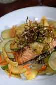 Delicious fresh salmon served with vegetables 03