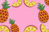Pineappple. Top View. Anana In Paper Cut Style. Origami Juicy Ripe Slices. Healthy Food On Pink. Sum poster