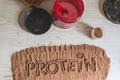 Spoonful Of Whey Protein, With The Word Protein Written. Sport Nutrition. poster