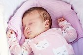 Sweet Caucasian Newborn Baby Sleeping In The Cradle Or Baby Carriage. Baby Sleep Concept Stock Image poster