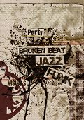 artistic grunge flyer design on aged paper with ink bolt, broken-beat, funk, nu jazz,eroded, rusty,