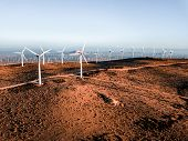 Wind Turbine Farm From Aerial View. Sustainable Development, Environment Friendly Of Wind Turbine By poster
