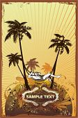relaxing on the beach,palm trees ,retro look grunge & floral ornaments,vector illustration