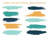 Craft Label Brush Stroke Backgrounds, Paint Or Ink Smudges Vector For Tags And Stamps Design. Painte poster