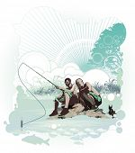 fisherman,abstract vector illustration with modern design ornaments