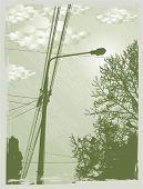 otoño urbano street view, vector illustration