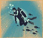 Buzo bajo el agua, ilustración vectorial