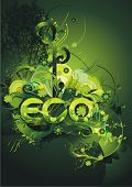 environmental poster with the  word eco decorated  with flowers and elements from the nature