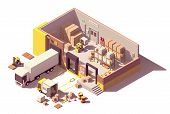 Vector Isometric Low Poly Warehouse Cross-section. Includes Trucks With Crates, Pallets, Loading Doc poster