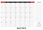 April 2019 Monthly Desk Pad Calendar Week Starts From Sunday, Size A3. April 2019 Calendar Planner W poster