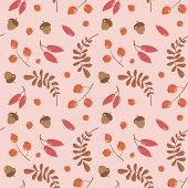 Vector Seamless Autumn Pattern With Red Leaves, Acorns And Berries On A Light Red Background. Autumn poster