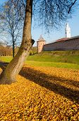 Veliky Novgorod, Russia. Fedor Tower And Clock Tower Of Veliky Novgorod Kremlin Fortress At Autumn S poster