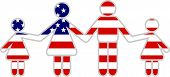 pic of usa flag  - american family icon holding hands isolated on white - JPG