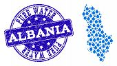 Map Of Albania Vector Mosaic And Pure Water Grunge Stamp. Map Of Albania Created With Blue Liquid De poster