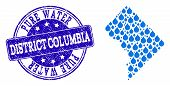 Map Of District Columbia Vector Mosaic And Pure Water Grunge Stamp. Map Of District Columbia Formed  poster