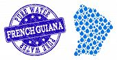 Map Of French Guiana Vector Mosaic And Pure Water Grunge Stamp. Map Of French Guiana Designed With B poster