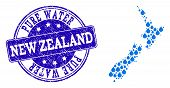 Map Of New Zealand Vector Mosaic And Pure Water Grunge Stamp. Map Of New Zealand Designed With Blue  poster