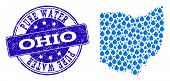 Map Of Ohio State Vector Mosaic And Pure Water Grunge Stamp. Map Of Ohio State Created With Blue Wat poster