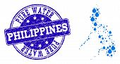 Map Of Philippines Vector Mosaic And Pure Water Grunge Stamp. Map Of Philippines Designed With Blue  poster