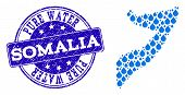 Map Of Somalia Vector Mosaic And Pure Water Grunge Stamp. Map Of Somalia Created With Blue Water Dew poster
