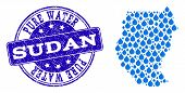 Map Of Sudan Vector Mosaic And Pure Water Grunge Stamp. Map Of Sudan Formed With Blue Water Tears. S poster