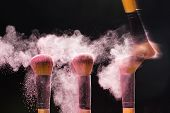 Make Up, Beauty And Mineral Cosmetic Concept - Cosmetics Brush And Explosion Light Pink Colorful Mak poster