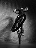 jump on bmx bicycle
