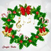 Christmas Wreath With Golden Musical Notes And Treble Clef On Snowy Background poster