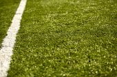 Sport Grass Field With White Line ( Depth Of Field ) Horizontal Football Field Photo poster
