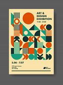 Abstract Template Poster Design. Creative Vector Solution For Your Event Or Announcement. Retro Mid  poster