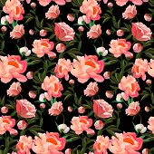 Seamless Floral Pattern With Of Red And Orange Roses On Black Background. Classic Rose Background. V poster