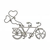 Vector Line Icon. Tandem Bike. Wedding. One Line Drawing. Isolated On White Background. Continuous S poster