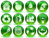 stock photo of people icon  - vector of green icons with symbols of nature - JPG